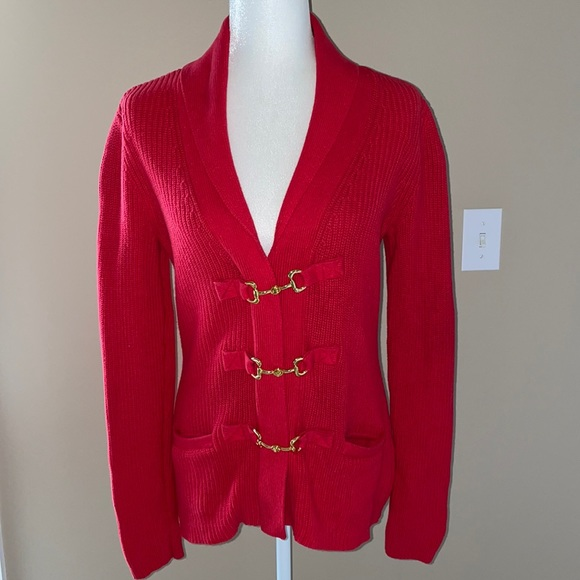 Soft Surroundings Red Cardigan with Gold Hardware Detail, Medium